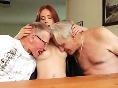Nanny threesome caught masterbating Minnie Manga eats b