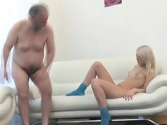 Enchanting youthful honey gives spunky rail to an old dude