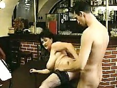 Brunette in pantyhose deep throats gigantic penis and ravages it