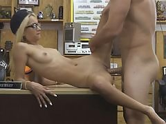 Highly slim blond bj's off and penetrated by pawnshop possessor