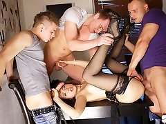 Gangbang porno act for slim Taissia-Shanti