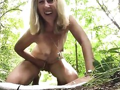 Mature mischievous blonde is jerking her cunny hole right outdoors