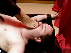 Super-naughty guy gets dominated over him and she is walking all over his body
