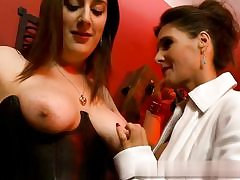 Two splendid mature nymphs are about to have some joy with each other