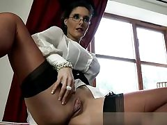 Horny domme is exposing her boobs and muff ready to fuck