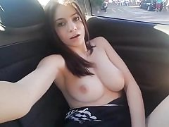 Super-naughty stunner gets big humid orgasm in her van rubbing her vagina